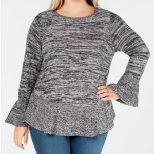 Style & Co. Size M Gray Ruffle Pullover Sweater